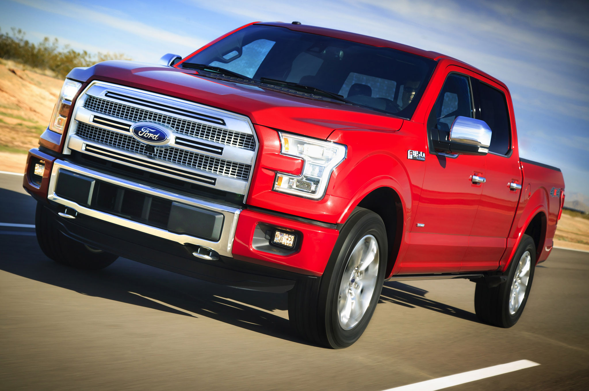 2015 Ford F 150 front side view in motion