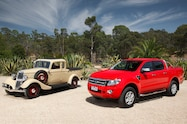 Restored Bandt ute with 2014 Ranger With permission Bandt family front view