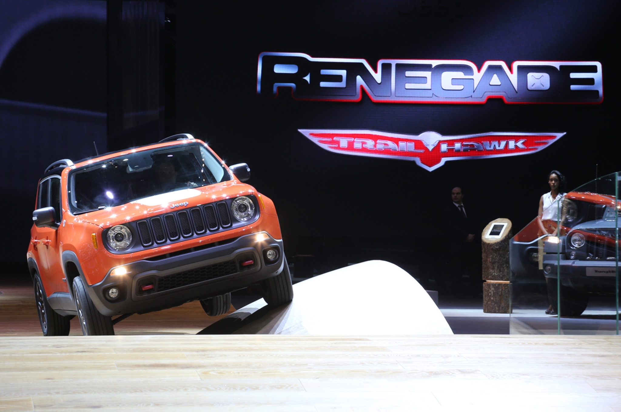 2015 Jeep Renegade Trailhawk show floor with sign