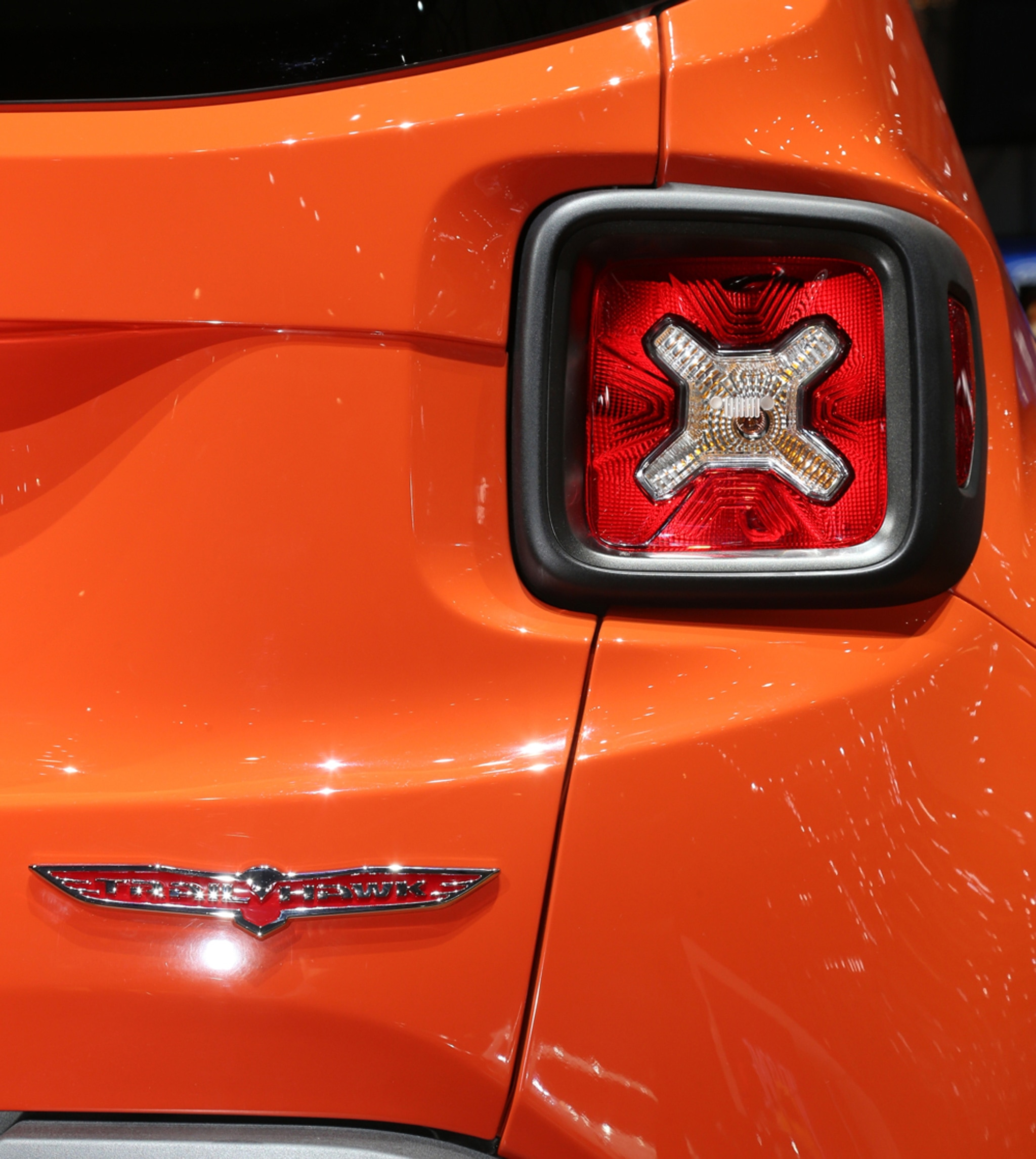 2015 Jeep Renegade Trailhawk show floor Trailhawk badge and taillight