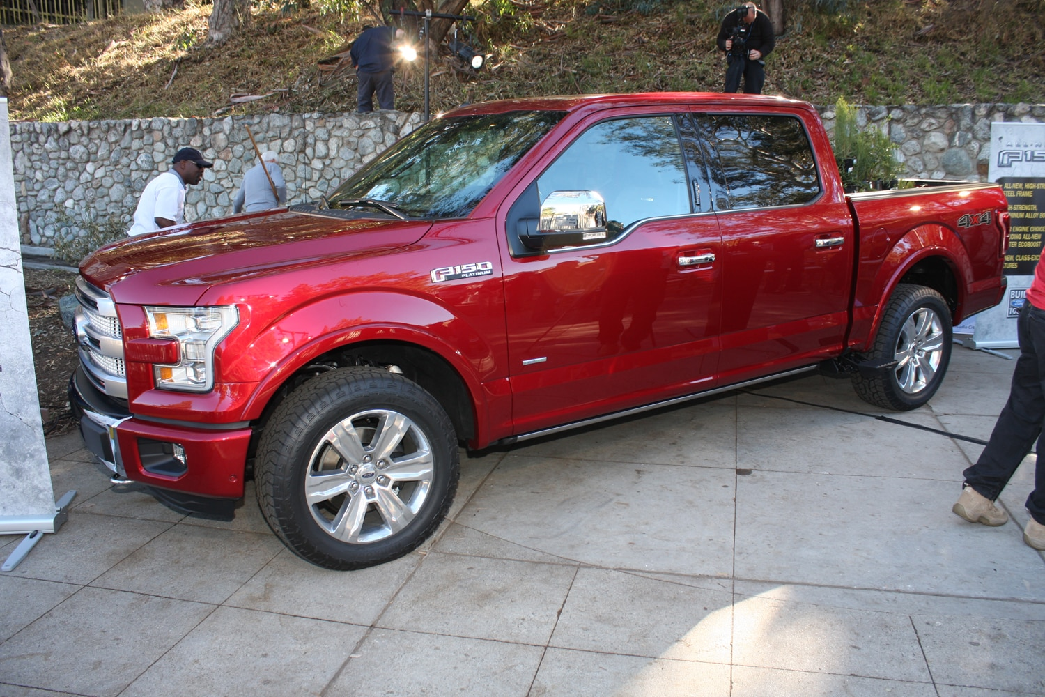 2015 Ford F150 unveiling la river 21 front three quarter