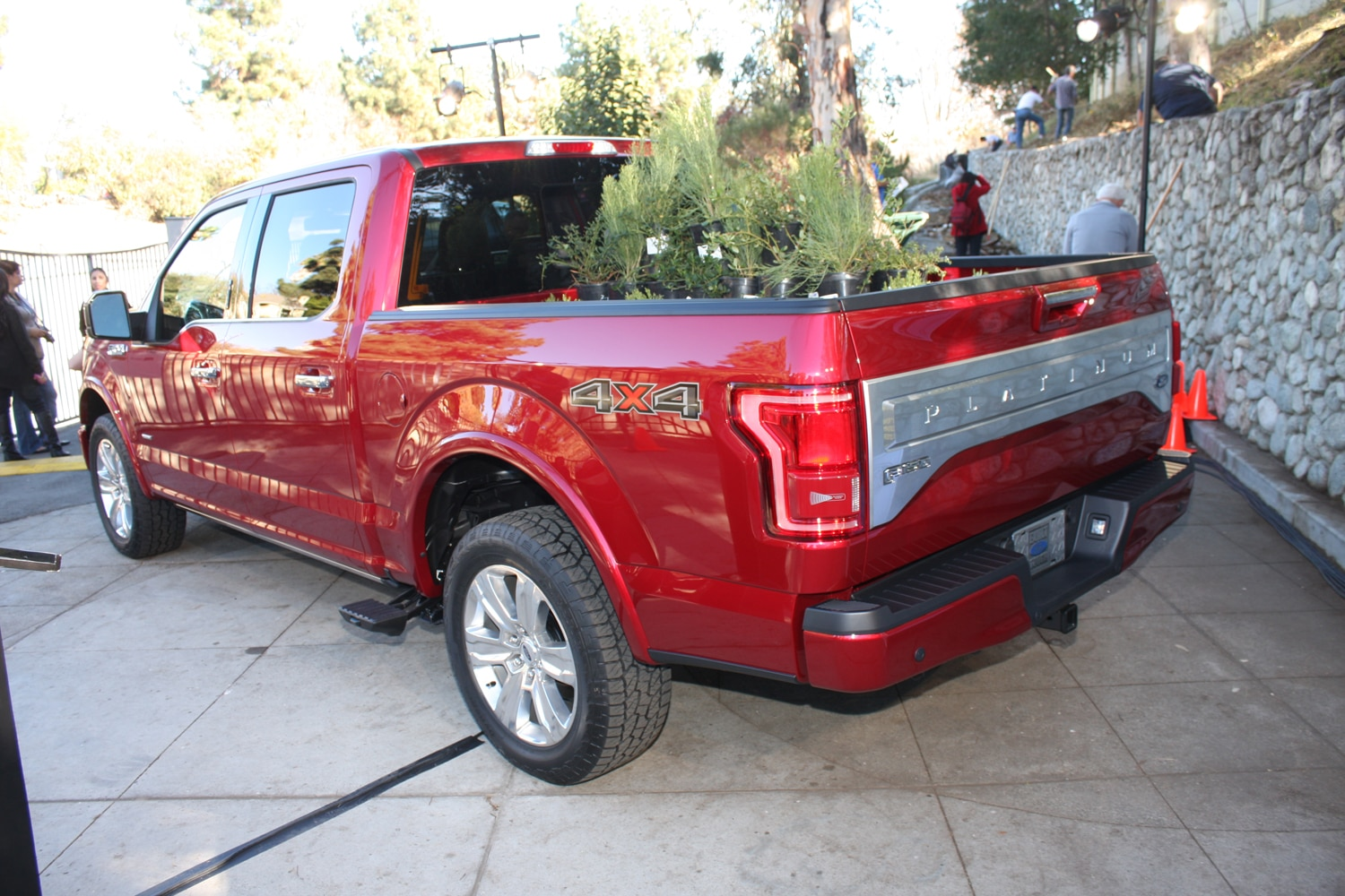 2015 Ford F150 unveiling la river 26 rear three quarter