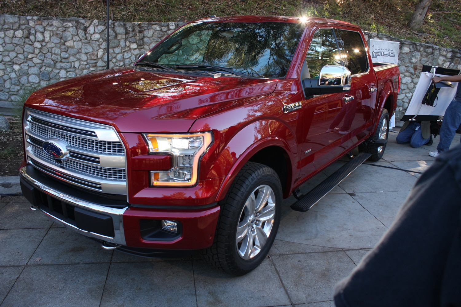 2015 Ford F150 unveiling la river 40 front three quarter