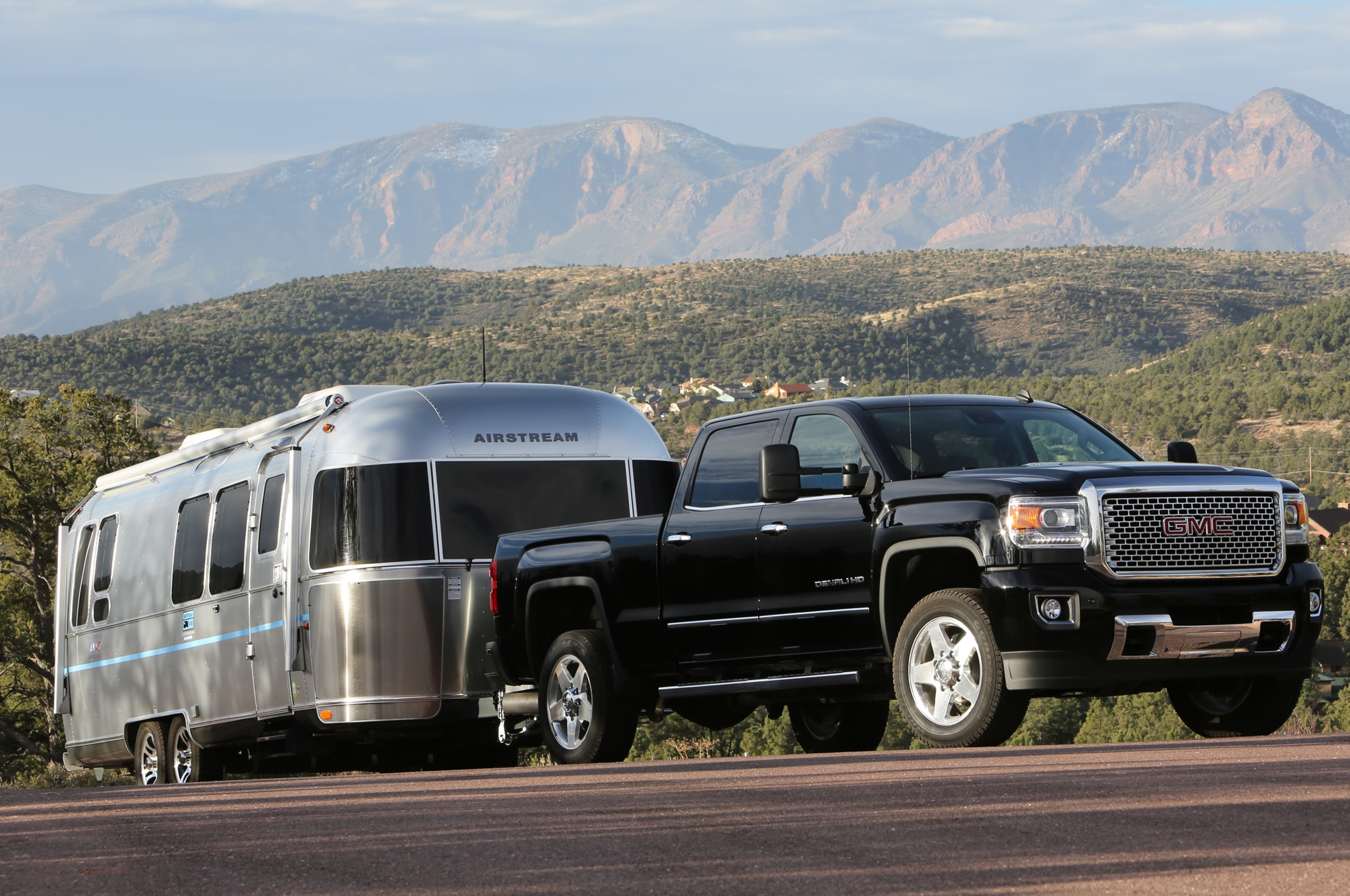 2015 GMC Sierra 2500HD Denali towing airstream