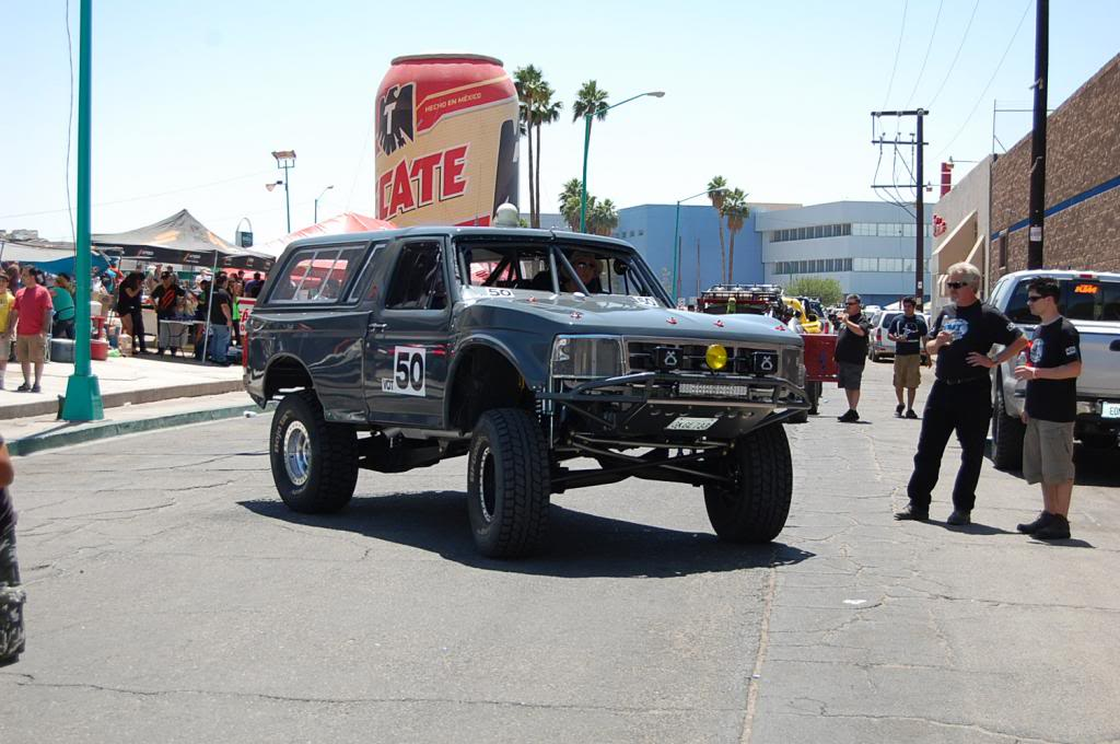 1992 Ford Bronco Vintage Open Truck Class Bill Varnes Tom Weber NORRA 1000 Race Truck on the streets of Mexicali
