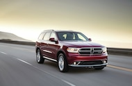 Dodge Durango in motion front three quarter