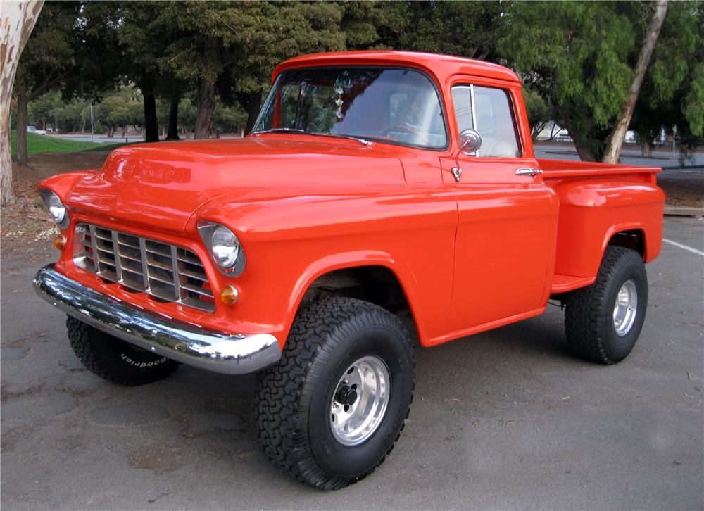 1956 Chevy 3100 4x4 front three quarter