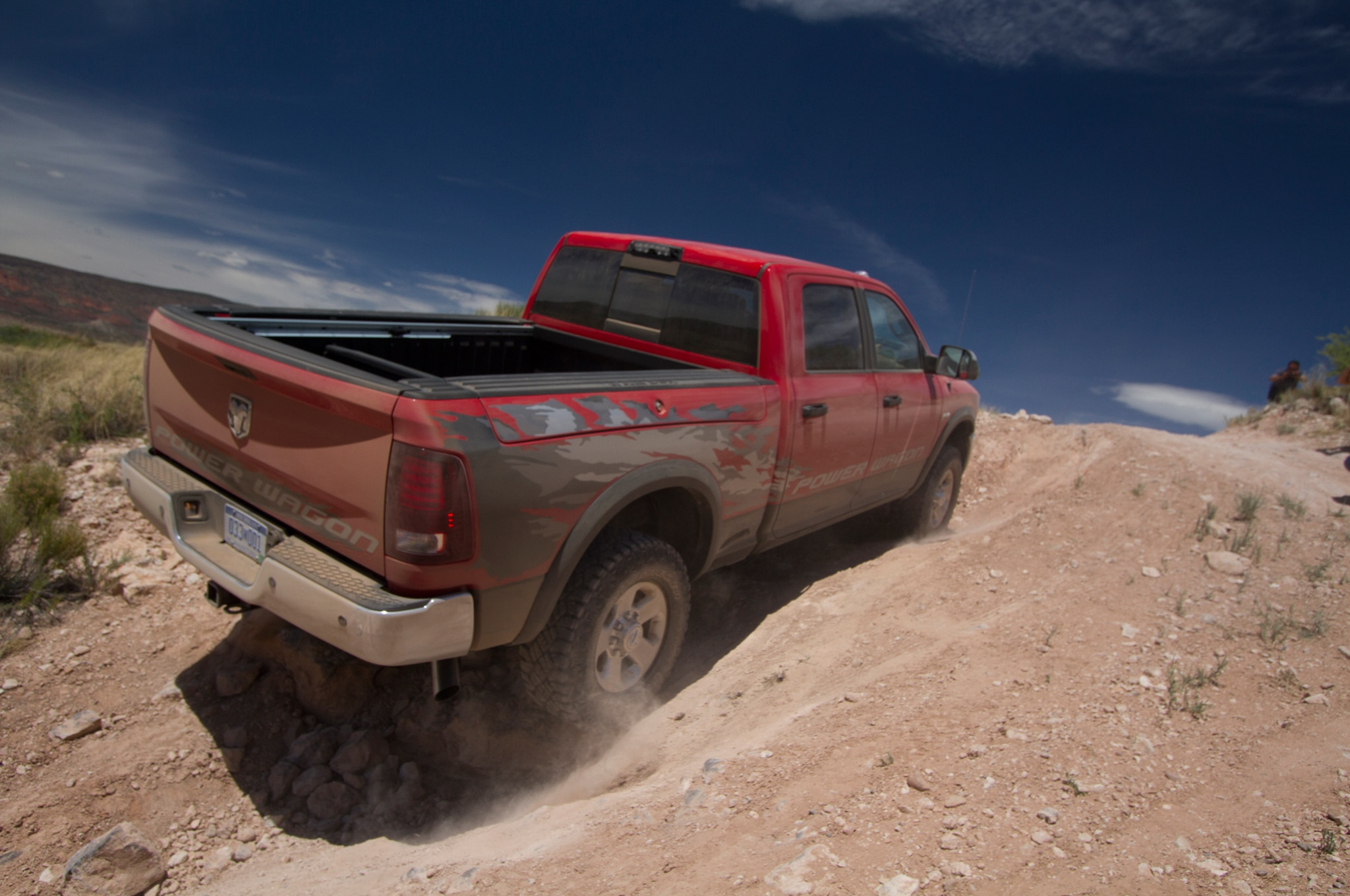 2014 Ram 2500 Power Wagon rear three quarters in motion