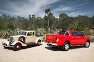 Restored Bandt ute with 2014 Ranger With permission Bandt family front and rear view