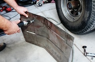 trimming new floor pan