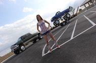 mud girl with chevy s10 mega truck on trailer
