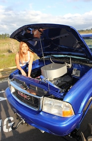 mud girl and chevy s10 mega truck