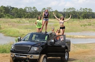 mud girls on ford f 150