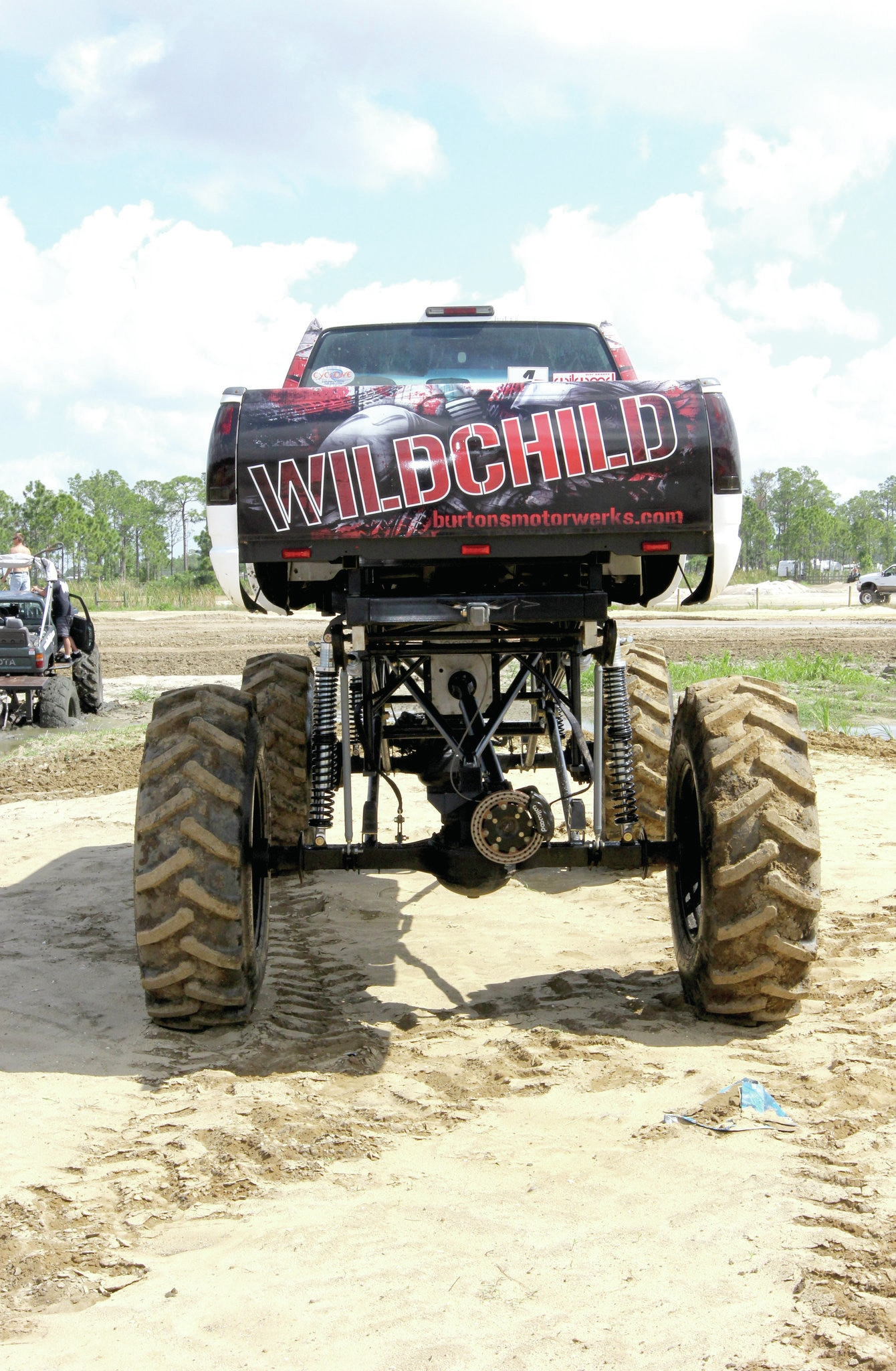 custom chevy mud truck rear shot