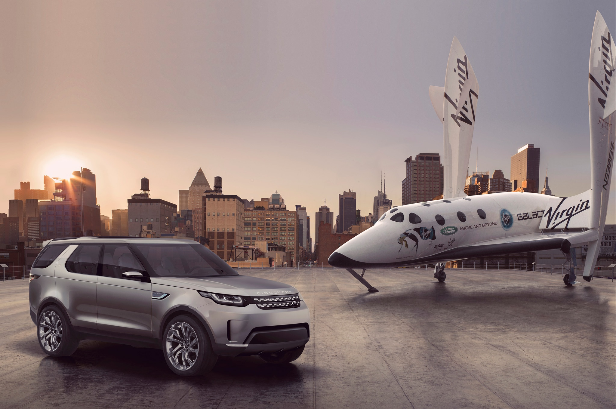 Land Rover Discovery Vision Concept with Virgin Galactic SpaceShip Two