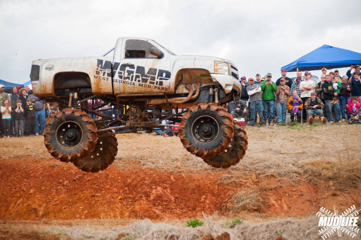 chevy silverado mud truck jumping
