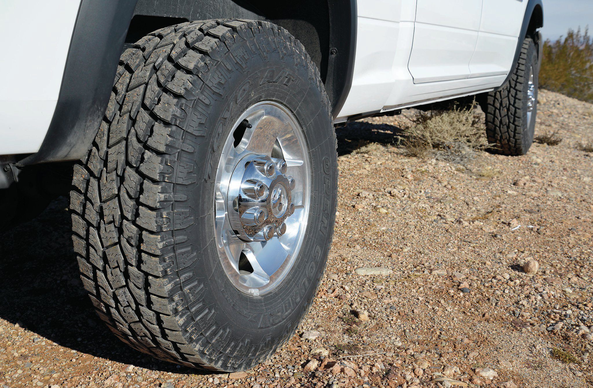 The LT285/75R17 Toyo Open Country A/T II tires on our test vehicle took very little weight to balance. Translating to 34 inches tall and 11 inches wide, this size is good for those wanting a larger tire, but who still want to use their 4x4 on the road.