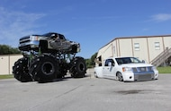 2008 chevy 2500 hd mud truck and bagged nissan titan