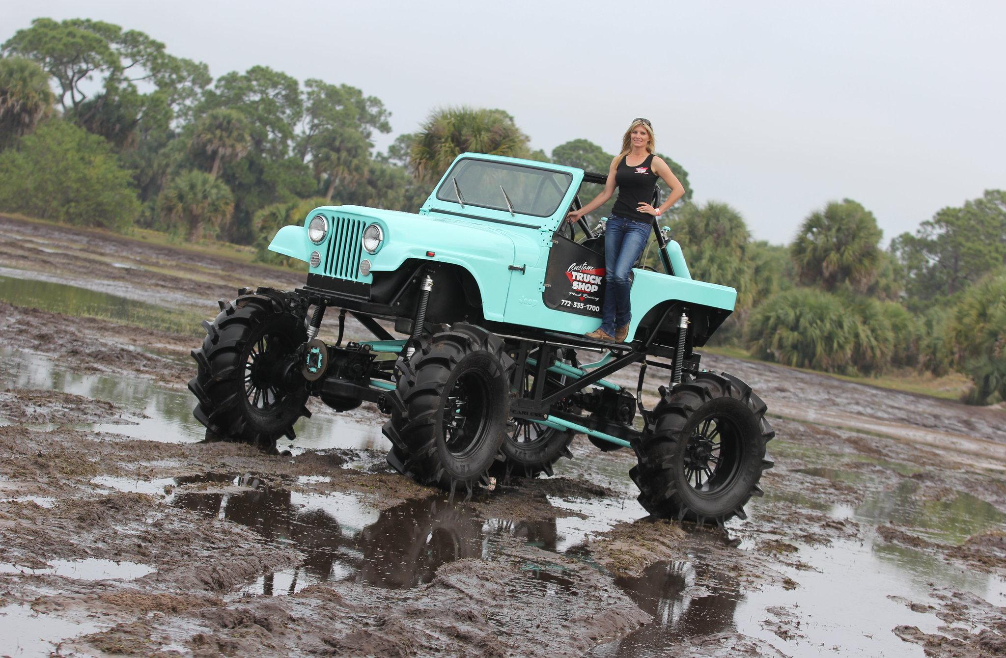 mud girl on mega jeep