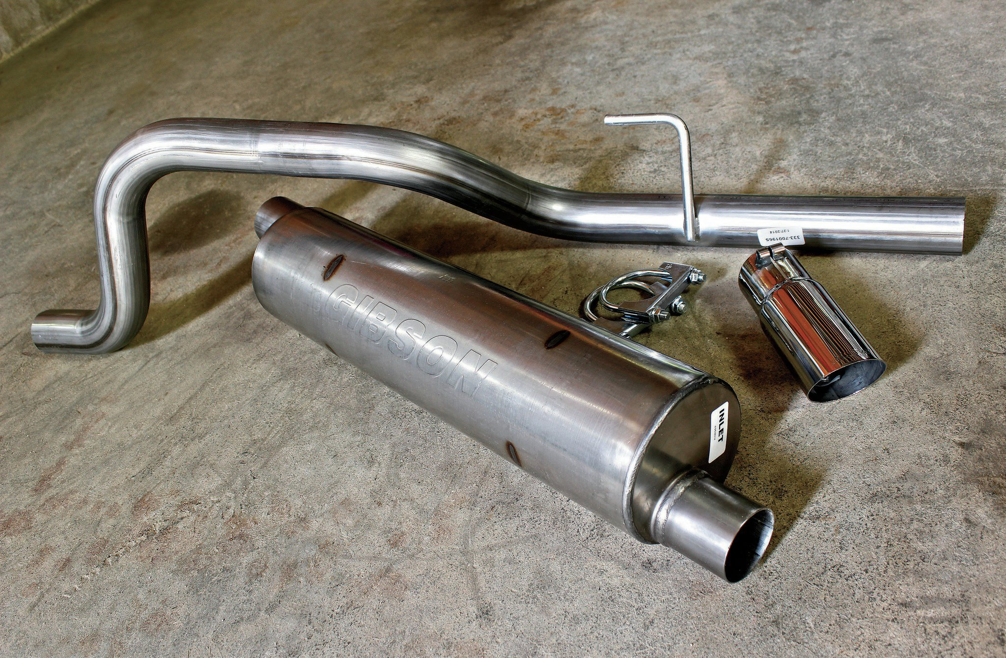 We took the opportunity to replace our aging, 10-year-old factory exhaust system with a killer-looking/sounding Gibson Performance stainless steel system. Included in the kit are a 2.5-inch-diameter stainless mandrel-bent tailpipe, stainless chambered/baffled (no packing to burn out) muffler, a T304 3-inch polished tip, and all the necessary clamps and hardware. So long as we don't mash it on a rock, it might just outlast the Jeep.