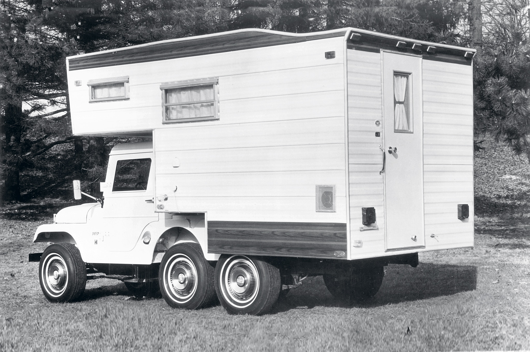 It isn't clear how many of the 336 campers built were sold as complete outfits, including the Jeep, and how many were purchased a la carte. This setup looks like it has a full-boat set of options down to the snazzy wheel covers and a Ramsey DC-9 electric winch (one of Ramsey's first electrics). We have not found a spec sheet for the camper, but one informed source tells us the unit was over 1,000 pounds wet.