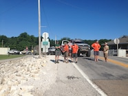 Ultimate Adventure 2014 Day 7 Road Day  3  Waiting to cross the Mississippi River.JPG