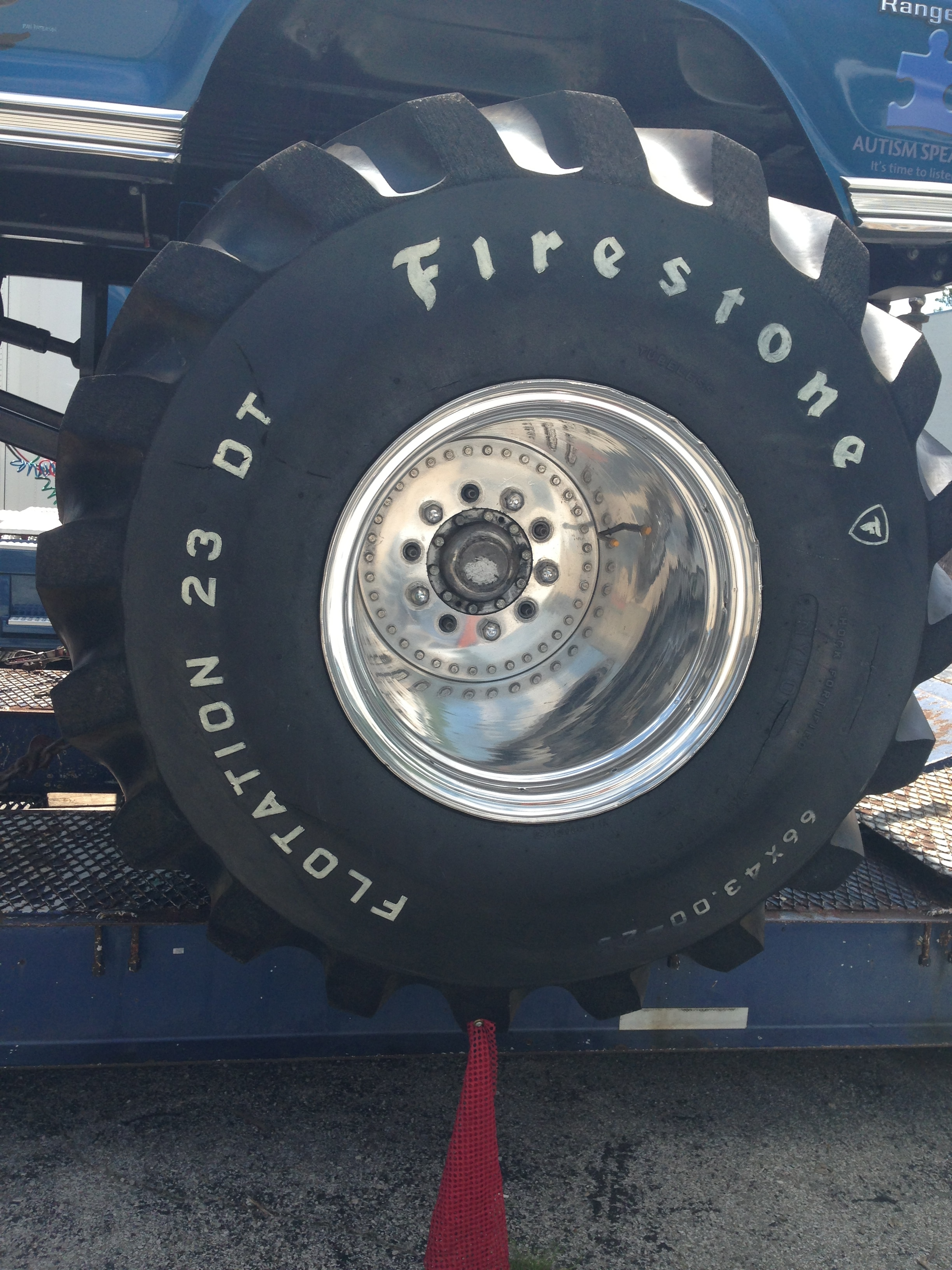 Ultimate Adventure 2014 Day 7 Road Day  33  Bigfoot Monster Truck Firestone Tire.JPG