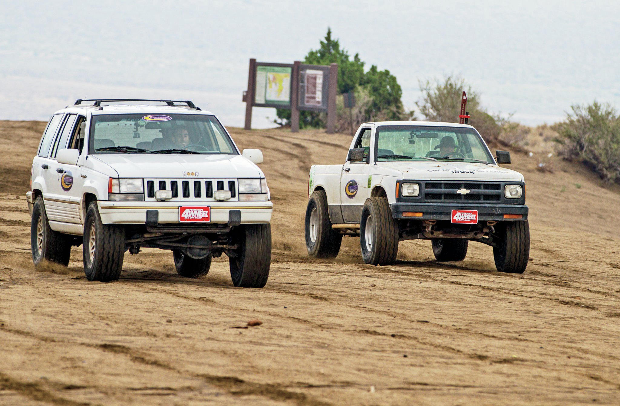 The V-8 engine, automatic transmission, and relatively light weight of Peterson's Grand Cherokee allowed him to run away from the other two vehicles in the drag race. Despite cries for rematches the results were always the same.