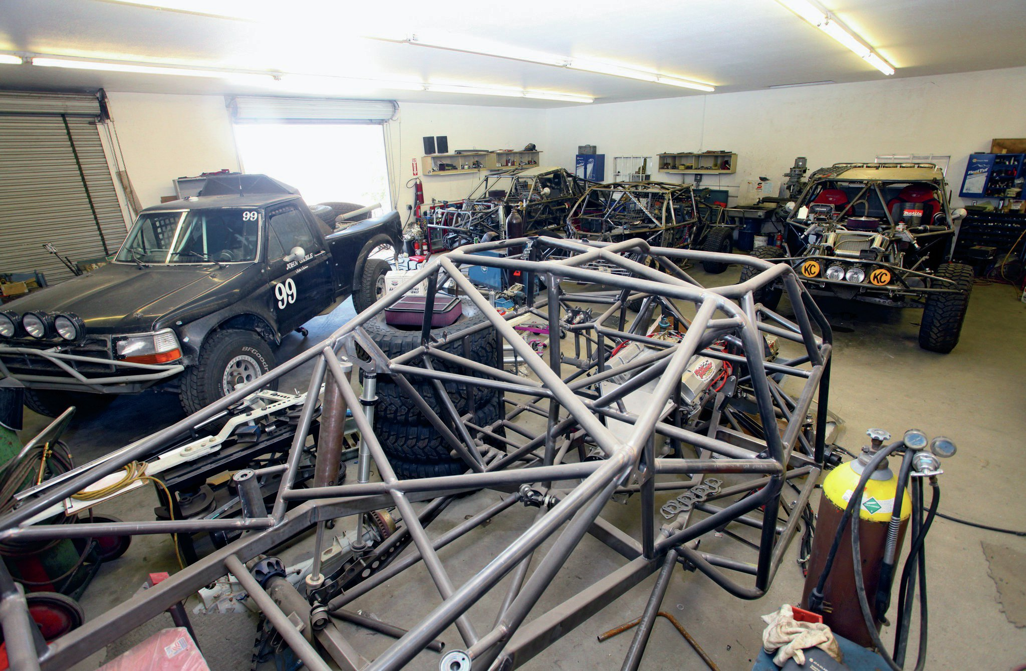 There's no shortage of race trucks to be prepped in Curt Leduc's shop.