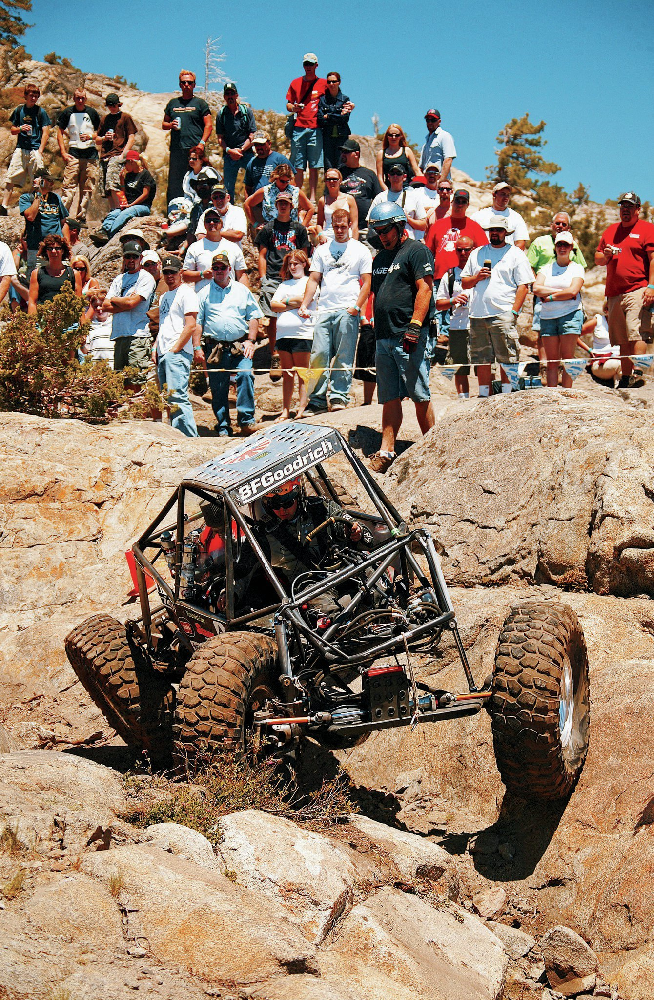 "Jon Nelson built ""Tiny"" in 2003 and it is still the standard by which other rockcrawlers are measured. Jesse is quick to credit Nelson as an inspiration and although their vehicles have little in common at first glance, they share details such as the tall Panhard bar mounts for a high roll center and bracing for the upper link on the axlehousings."