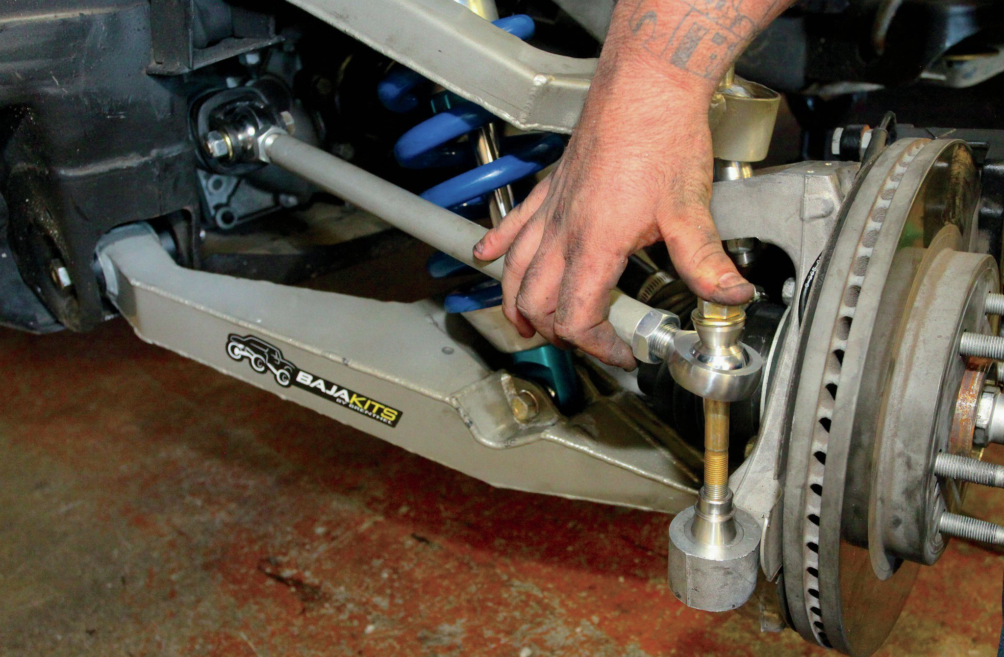 Note that an insert has been installed into the knuckle. It's into this that the Heim joint–equipped tie-rod end is installed.