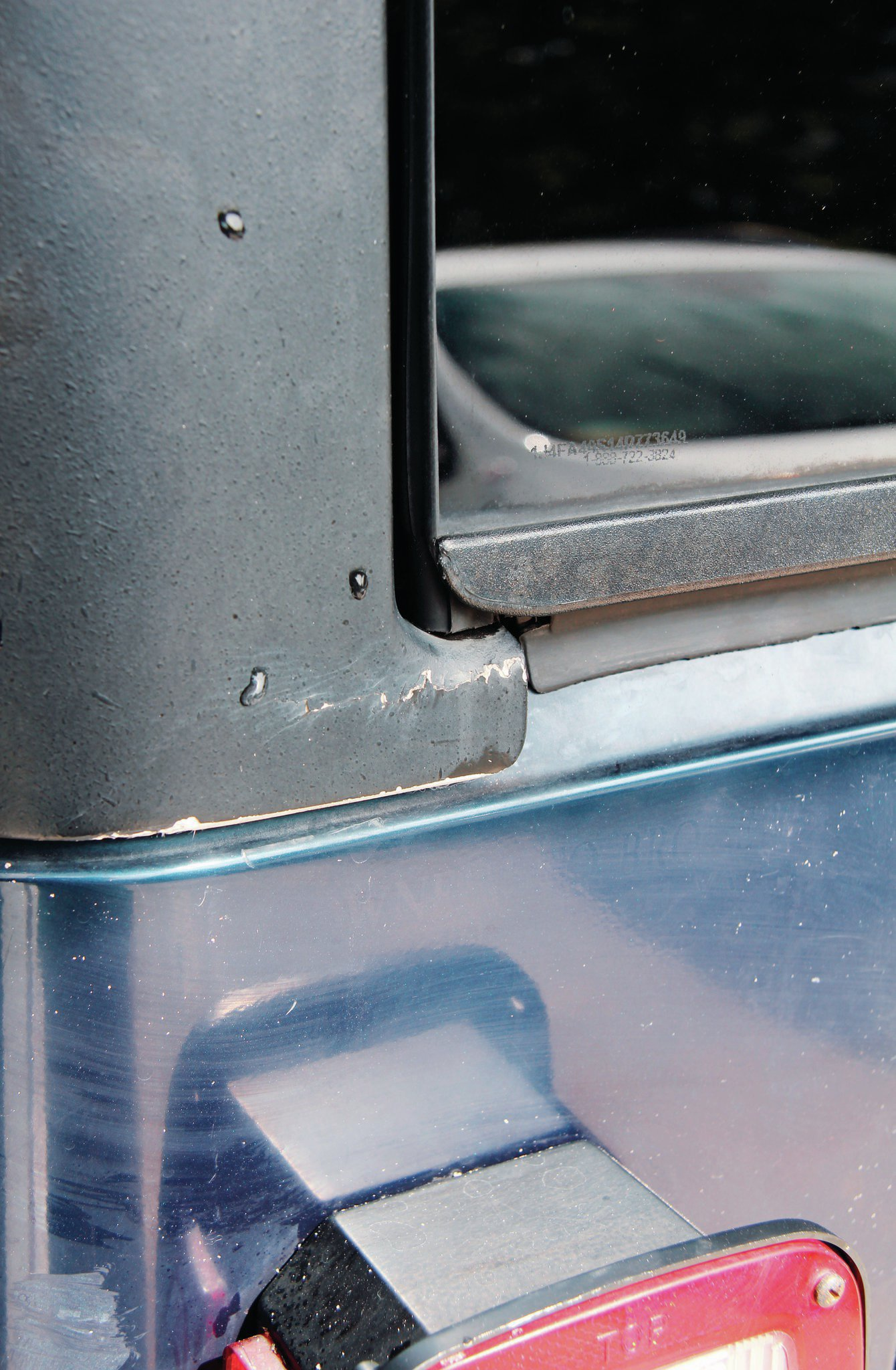 People love their hardtops and will ask a premium if their Jeep has one. If the Jeep has been wheeled with the hardtop on, look closely for cracks. The type of damage shown here can even occur from storing it improperly. Soft tops are relatively cheap and easy to get, so don't let one in bad shape deter you.