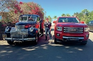 classic chevy truck and 2015 gmc canyon