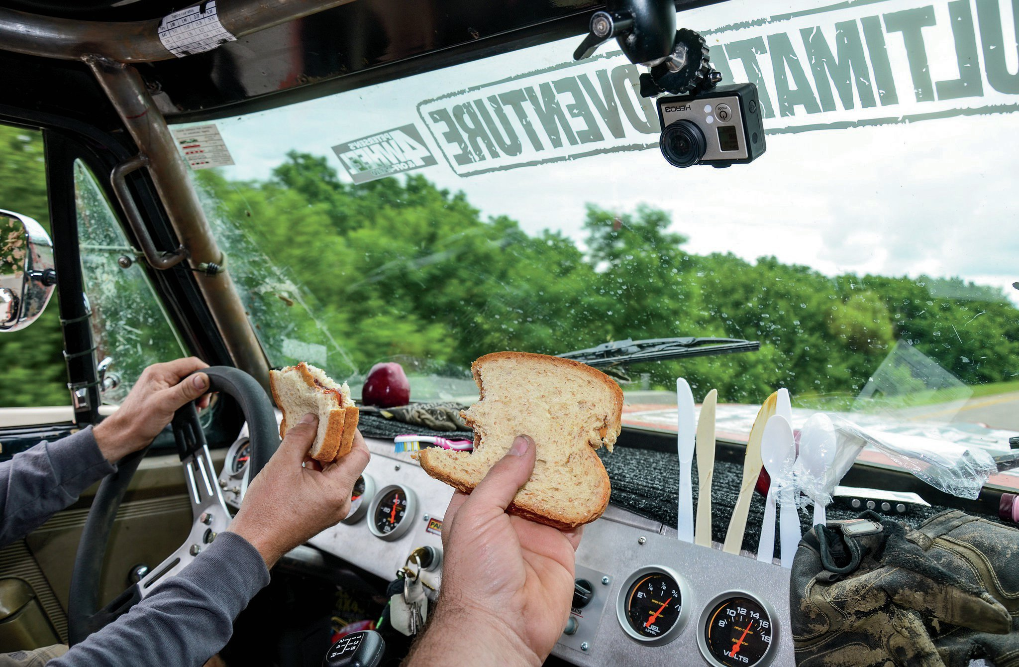 Living out of a truck for a week is fun, and keeping things in their place is key. The Tug-Truck had a pantry under the driver seat, and we used the flat dash (with custom dash pad) as a countertop to make sandwiches. The dash also turned out to be a great place to store our silverware and other items. Living out of a flatfender or a Suzuki is more of a challenge, but it works.