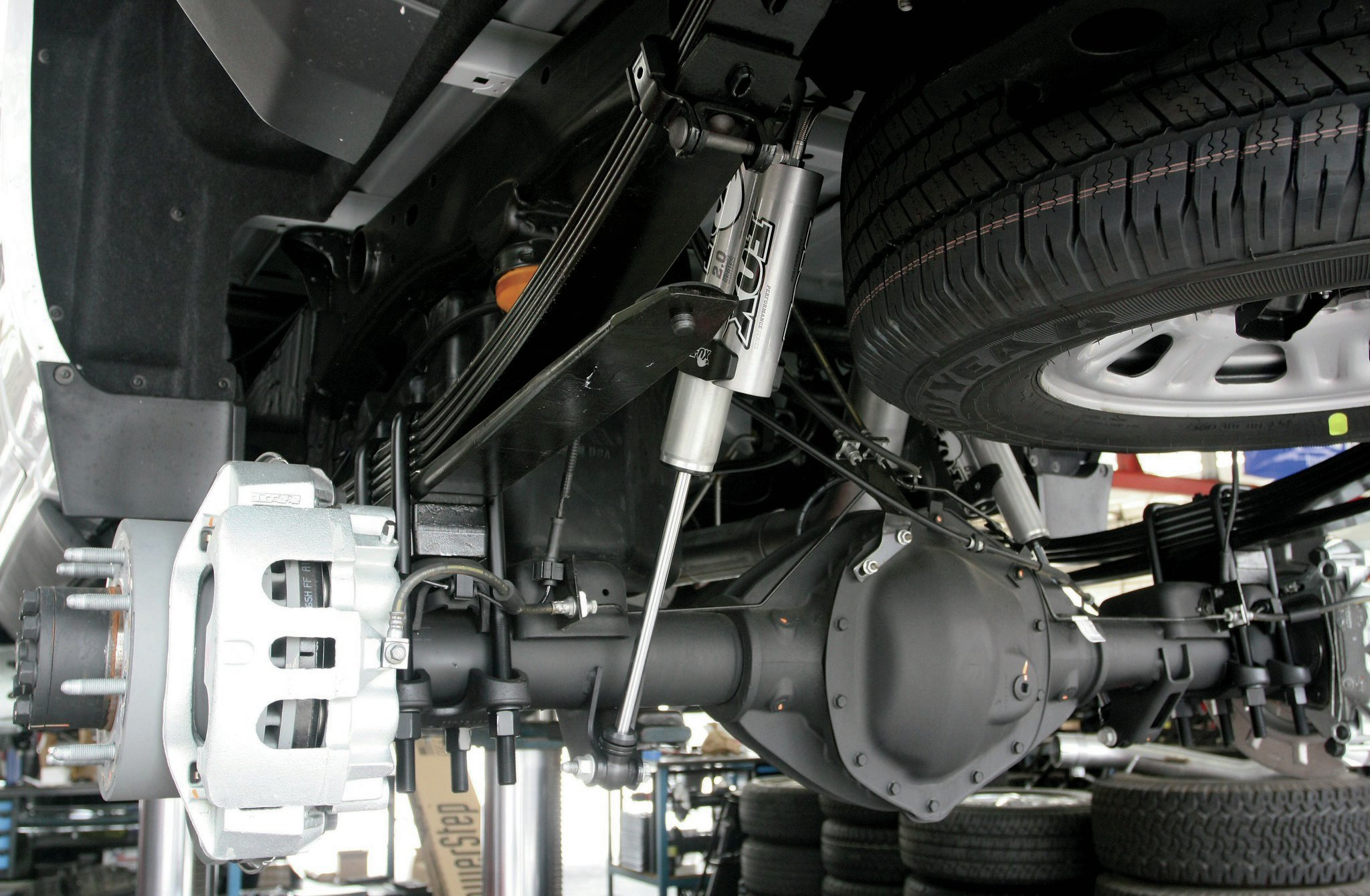 The Fox rear shocks are installed, and the truck will eventually go onto the alignment rack.