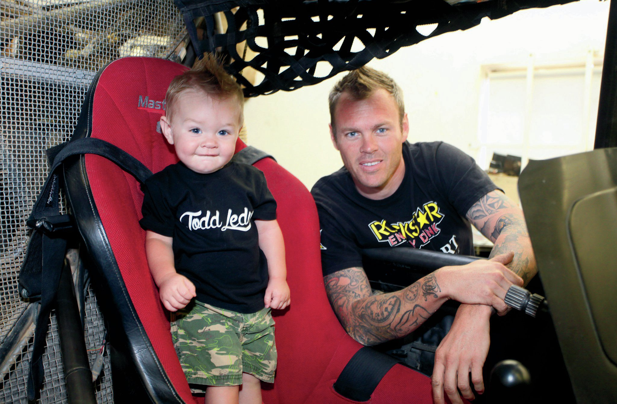 Todd's son, Kruz, gets a little seat time in the Trophy Truck.