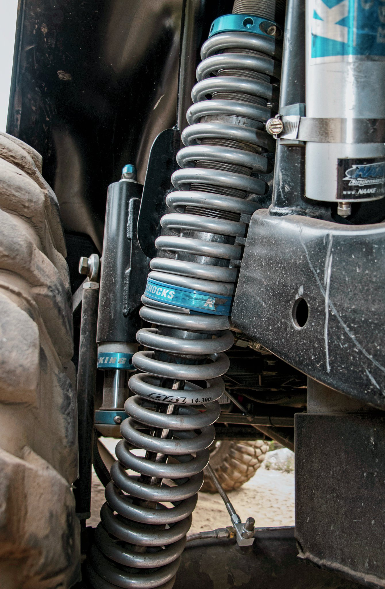 The King coilovers and air bumps are frenched into the frame for tire clearance using GenRight brackets. The 12-inch-travel King travel coilovers use springs rated at 225 over 250 lb/in and work in conjunction with a Speedway Engineering sway bar.