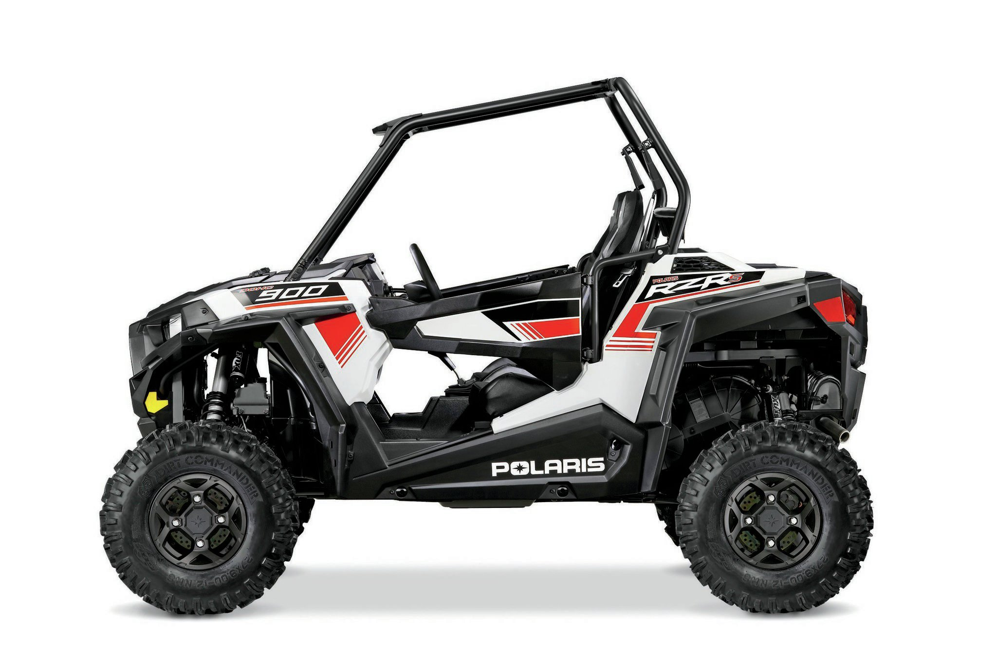 Half doors come standard with full doors as an accessory on the RZR S. Four-spoke aluminum wheels are standard along with premium.