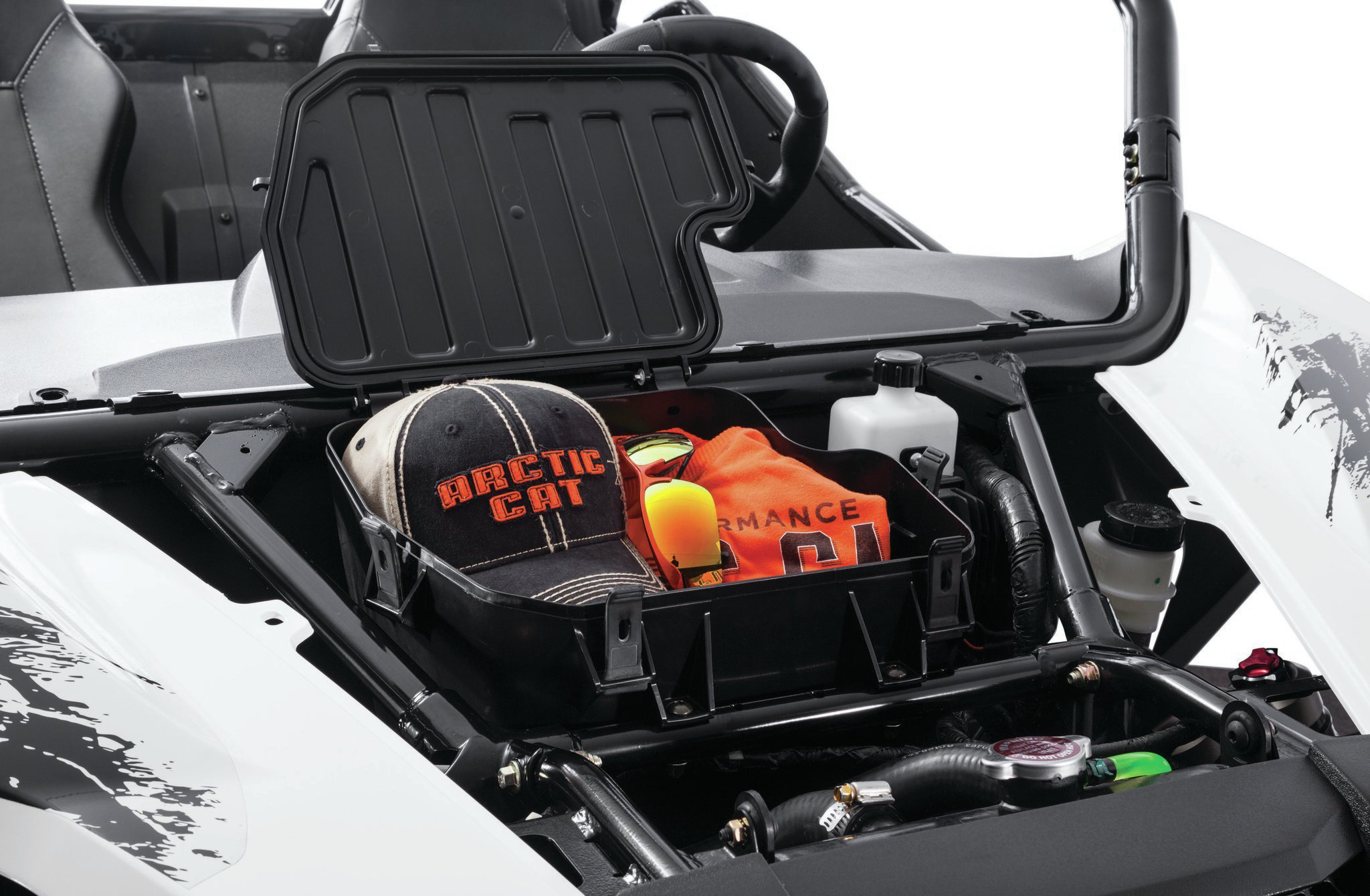 Under the hood is more storage for miscellaneous ropes, jackets, jumpers, and more.