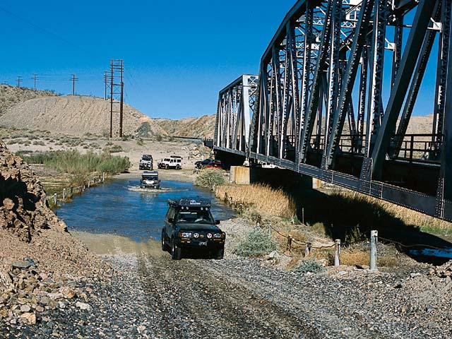 Crossing the Mohave River in Afton Canyon.