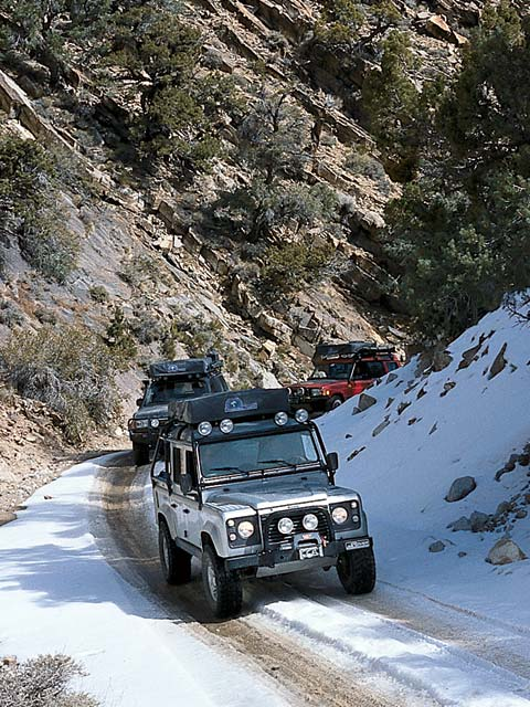 Werner and Lisa Attollini were here visiting from Switzerland and decided to travel along with us into Death Valley. Their Custom TD5 Defender 110 has custom-built camping quarters in the rear and is powered by the five-cylinder diesel engine.