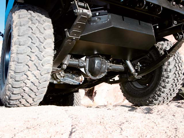 TLC designed functional skidplates for the rear gas tank and center crossmember out of 1/4-inch steel plate.