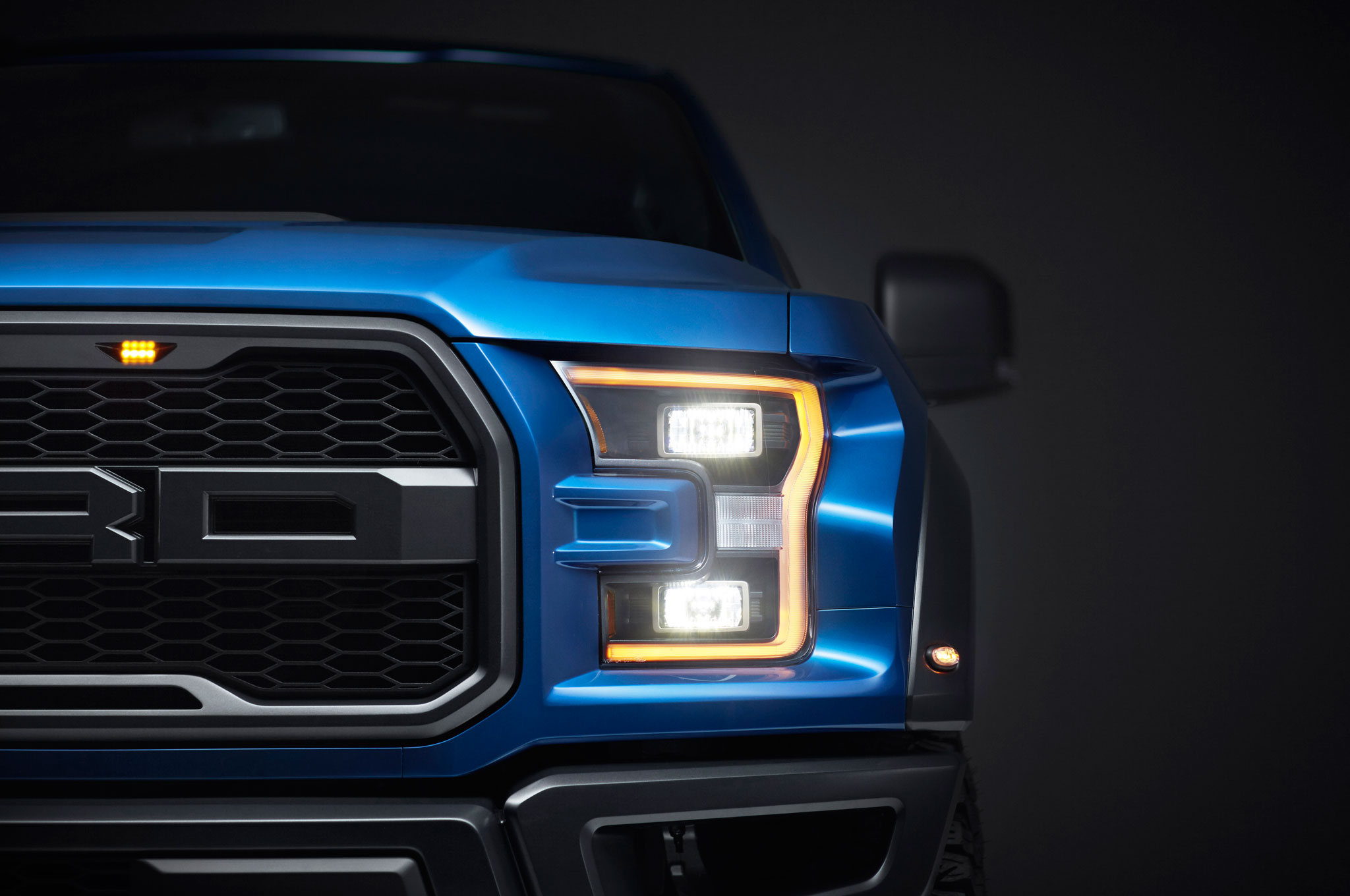 2017 ford f 150 raptor front headlight detail