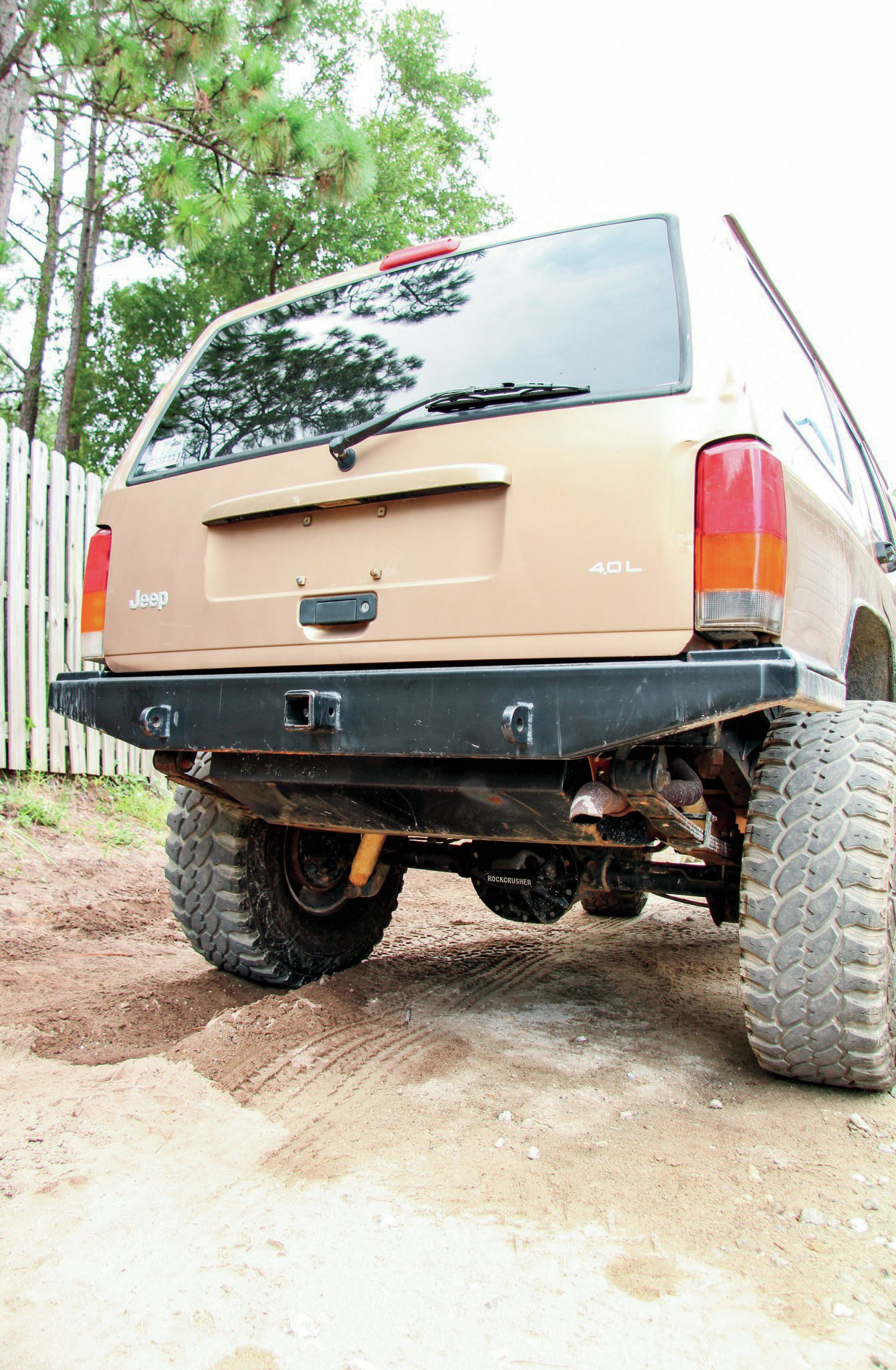 An AJ's Offroad Armor rear bumper, along with a gas tank skidplate, has us all set with rear protection. We'll most likely carry the spare tire inside of the Jeep, thereby negating the need for an external tire carrier.