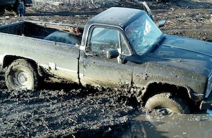 1984 chevy k30 stuck in mud