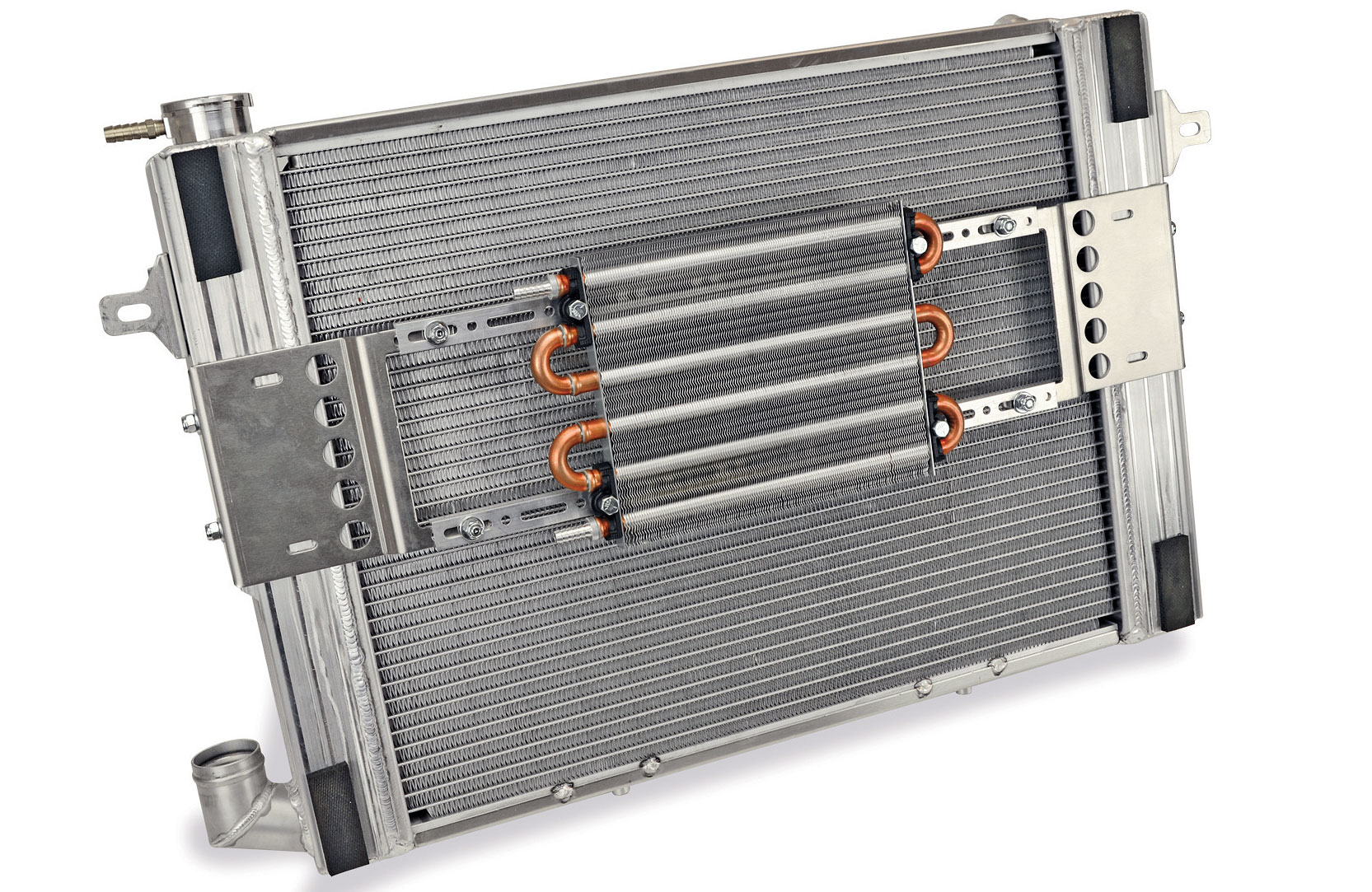 The dual 15-inch electric fans move up to 6,800 cfm of airflow. The entire core surface of the radiator is covered with a sealed shroud design.
