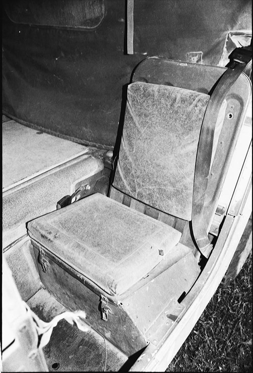 How would you like to spend 12 hours bouncing around the woods while sitting in this seat? It&#8217s obvious that soldier comfort isn&#8217t a high priority to the military. However, eliminating the extra foam and power-adjustable seats frees up room for a storage box under the military seat, similar to the old passenger Jeep seats.