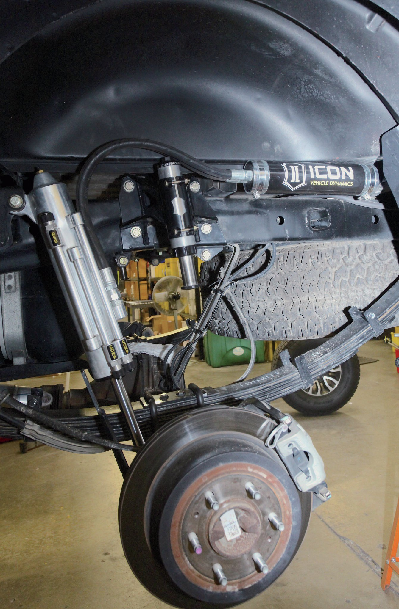 Unlike the stock bumpstop that hits the leaf springs the ICON bumpstop plate is attached to the axletube. Now the rear suspension is just as refined as the front. And gone is the stock's tendency to harshly bottom out during big hits and possibly buck the truck to the side.