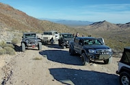 toyota tacoma and jeeps on trail