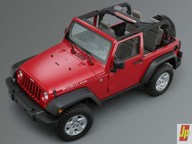 154 0601 22z+2007 jeep jk wrangler+top front side no top view